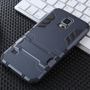Противоударный двухкомпонентный силиконовый матовый непрозрачный чехол с поликарбонатными вставками экстрим защиты с встроенной ножкой-подставкой для Samsung Galaxy S5 (Duos) Синий