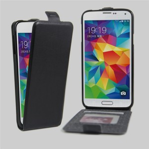 Чехол вертикальная книжка на силиконовой основе с отсеком для карт на магнитной защелке для Samsung Galaxy S5 (Duos) Черный
