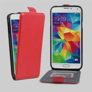 Чехол вертикальная книжка на силиконовой основе с отсеком для карт на магнитной защелке для Samsung Galaxy S5 (Duos) Красный