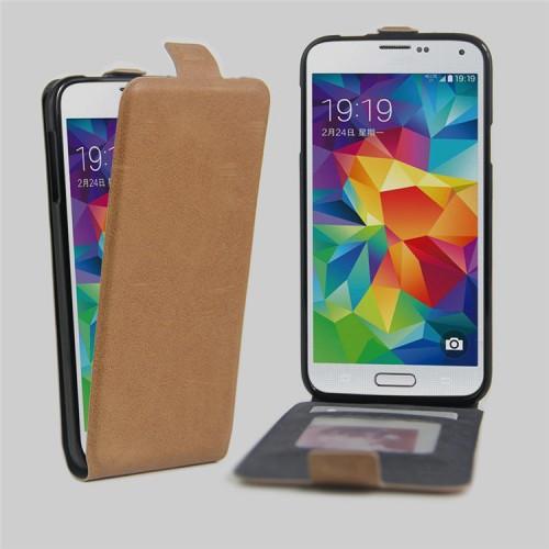 Чехол вертикальная книжка на силиконовой основе с отсеком для карт на магнитной защелке для Samsung Galaxy S5 (Duos)