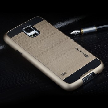 Противоударный двухкомпонентный силиконовый матовый непрозрачный чехол с поликарбонатными вставками экстрим защиты для Samsung Galaxy S5 (Duos)
