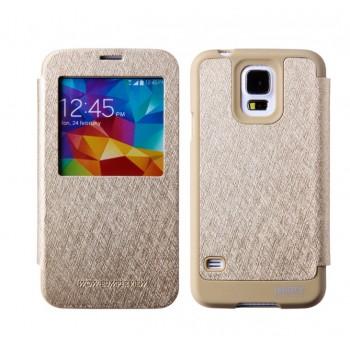 Чехол горизонтальная книжка на силиконовой основе с окном вызова, отсеком для карт и тканевым покрытием для Samsung Galaxy S5 (Duos)