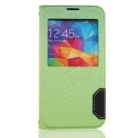 Чехол горизонтальная книжка подставка текстура Линии на пластиковой основе с окном вызова для Samsung Galaxy S5 (Duos)  Зеленый