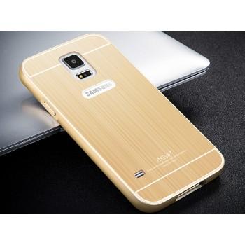 Двухкомпонентный чехол c металлическим бампером с поликарбонатной накладкой и текстурным покрытием Металл для Samsung Galaxy S5 (Duos)