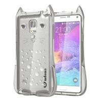 Силиконовый матовый полупрозрачный дизайнерский фигурный чехол для Samsung Galaxy Note 4 Серый