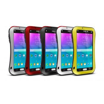 Эксклюзивный многомодульный ультрапротекторный пылевлагозащищенный ударостойкий нескользящий чехол алюминиево-цинковый сплав/силиконовый полимер с закаленным защитным стеклом для Samsung Galaxy Note 4