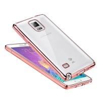 Силиконовый матовый полупрозрачный чехол с текстурным покрытием Металлик для Samsung Galaxy Note 4  Розовый