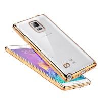 Силиконовый матовый полупрозрачный чехол с текстурным покрытием Металлик для Samsung Galaxy Note 4  Бежевый
