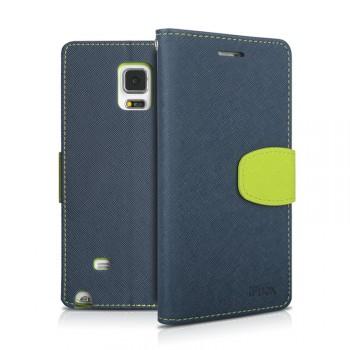 Чехол портмоне подставка на силиконовой основе с тканевым покрытием на магнитной защелке для Samsung Galaxy Note 4