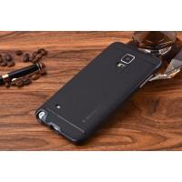 Двухкомпонентный силиконовый матовый непрозрачный чехол с поликарбонатным бампером для Samsung Galaxy Note 4 Черный