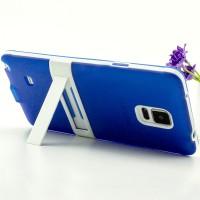 Двухкомпонентный силиконовый матовый непрозрачный чехол с поликарбонатным бампером и встроенной ножкой-подставкой для Samsung Galaxy Note 4  Синий