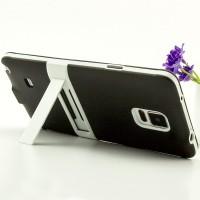 Двухкомпонентный силиконовый матовый непрозрачный чехол с поликарбонатным бампером и встроенной ножкой-подставкой для Samsung Galaxy Note 4  Черный