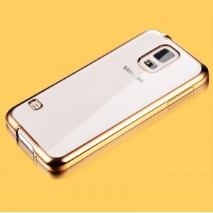 Силиконовый матовый полупрозрачный чехол с текстурным покрытием Металлик для Samsung Galaxy S5 (Duos)  Бежевый
