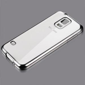 Силиконовый матовый полупрозрачный чехол с текстурным покрытием Металлик для Samsung Galaxy S5 (Duos)  Серый