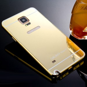 Двухкомпонентный чехол c металлическим бампером с поликарбонатной накладкой и зеркальным покрытием для Samsung Galaxy Note 4 Бежевый