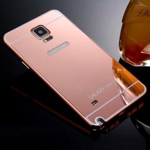 Двухкомпонентный чехол c металлическим бампером с поликарбонатной накладкой и зеркальным покрытием для Samsung Galaxy Note 4 Розовый
