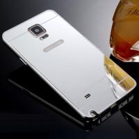 Двухкомпонентный чехол c металлическим бампером с поликарбонатной накладкой и зеркальным покрытием для Samsung Galaxy Note 4 Белый