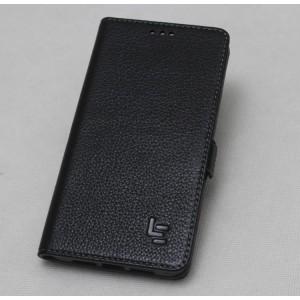 Кожаный чехол горизонтальная книжка (премиум нат. кожа) с крепежной застежкой для LeEco Le Max 2  Черный