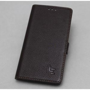 Кожаный чехол горизонтальная книжка (премиум нат. кожа) с крепежной застежкой для LeEco Le Max 2  Коричневый