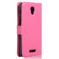 Чехол портмоне подставка на силиконовой основе на магнитной защелке для Alcatel Pop 4 Plus  Пурпурный