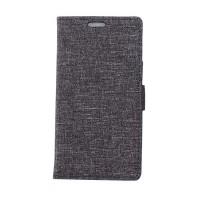 Чехол портмоне подставка на силиконовой основе с тканевым покрытием на магнитной защелке для Alcatel Pop 4 Plus  Черный