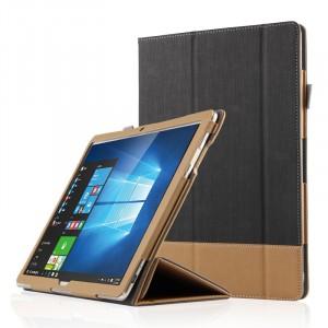 Кожаный сегментарный чехол книжка подставка текстура Линии с рамочной защитой экрана и крепежом для стилуса для Huawei MateBook  Черный