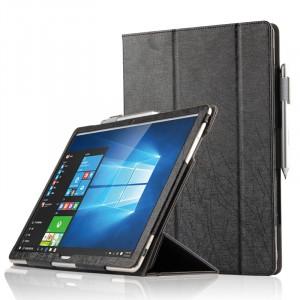 Сегментарный чехол книжка подставка текстура Линии с рамочной защитой экрана и крепежом для стилуса для Huawei MateBook  Черный