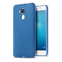 Силиконовый матовый непрозрачный чехол с текстурным покрытием Узоры для Huawei Honor 5C  Синий