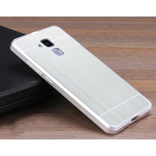 Двухкомпонентный чехол c металлическим бампером с поликарбонатной накладкой и текстурным покрытием Металл для Huawei Honor 5C