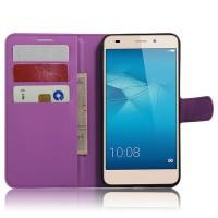 Чехол портмоне подставка на силиконовой основе на магнитной защелке для Huawei Honor 5C Фиолетовый