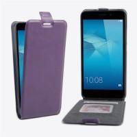 Чехол вертикальная книжка на силиконовой основе с отсеком для карт на магнитной защелке для Huawei Honor 5C  Фиолетовый