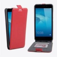 Чехол вертикальная книжка на силиконовой основе с отсеком для карт на магнитной защелке для Huawei Honor 5C  Красный