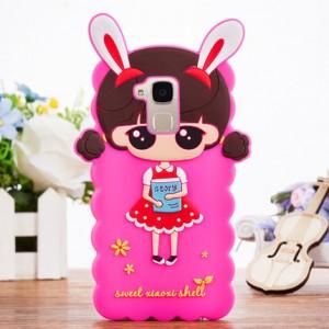 Силиконовый матовый непрозрачный дизайнерский фигурный чехол для Huawei Honor 5C  Пурпурный