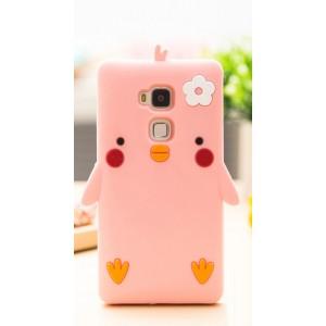 Силиконовый матовый непрозрачный дизайнерский фигурный чехол для Huawei Honor 5C  Розовый