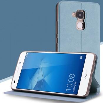 Чехол горизонтальная книжка подставка на силиконовой основе текстура Кожа для Huawei Honor 5C