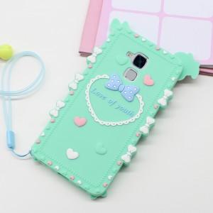Силиконовый матовый непрозрачный дизайнерский фигурный чехол для Huawei Honor 5C  Зеленый