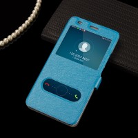 Чехол горизонтальная книжка подставка на пластиковой основе с окном вызова и свайпом на магнитной защелке для Huawei Honor 5C Голубой
