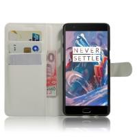Чехол портмоне подставка на силиконовой основе на магнитной защелке для OnePlus 3  Белый