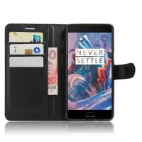Чехол портмоне подставка на силиконовой основе на магнитной защелке для OnePlus 3  Черный