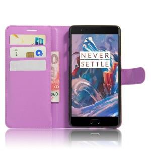 Чехол портмоне подставка на силиконовой основе на магнитной защелке для OnePlus 3  Фиолетовый