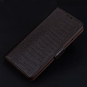 Кожаный чехол горизонтальная книжка подставка (премиум нат. кожа крокодила) с крепежной застежкой для OnePlus 3 Коричневый