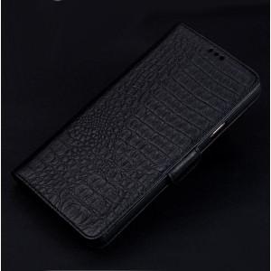 Кожаный чехол горизонтальная книжка подставка (премиум нат. кожа крокодила) с крепежной застежкой для OnePlus 3 Черный