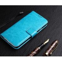 Глянцевый чехол портмоне подставка на силиконовой основе на магнитной защелке для ZTE Blade A510 Голубой