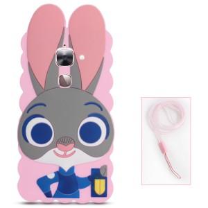 Силиконовый матовый непрозрачный дизайнерский фигурный чехол для LeEco Le 2  Розовый