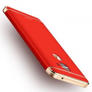 Пластиковый непрозрачный матовый сборный чехол с улучшенной защитой элементов корпуса для LeEco Le 2 Красный