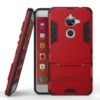 Противоударный двухкомпонентный силиконовый матовый непрозрачный чехол с поликарбонатными вставками экстрим защиты с встроенной ножкой-подставкой для LeEco Le 2 Красный