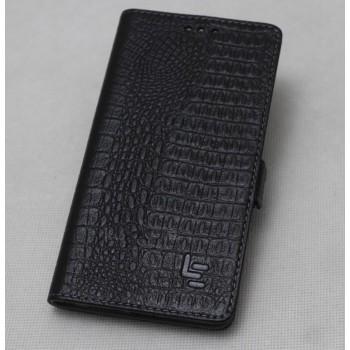 Кожаный чехол горизонтальная книжка (премиум нат. кожа крокодила) с крепежной застежкой для LeEco Le 2