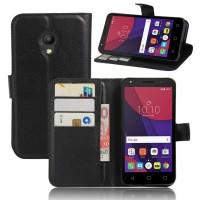 Чехол портмоне подставка на силиконовой основе на магнитной защелке для Alcatel Pixi 4 (5) 3G 5010d Черный