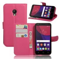 Чехол портмоне подставка на силиконовой основе на магнитной защелке для Alcatel Pixi 4 (5) 3G 5010d Пурпурный