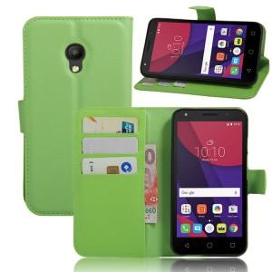 Чехол портмоне подставка на силиконовой основе на магнитной защелке для Alcatel Pixi 4 (5) 3G 5010d Зеленый